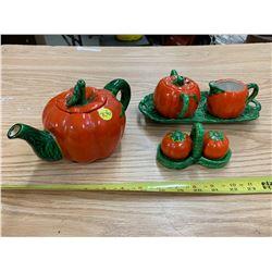 Unmarked Pumpkin Tea Set
