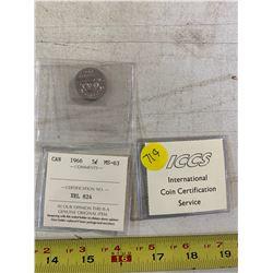 2- ICCS Canadian Coins (1957 Nickel, 1966 Nickel)