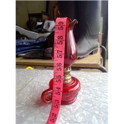 Small Red Glass Kerosene Lamp - Made in Hong Kong