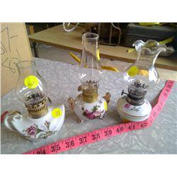 Set of 3 Small Flower Kerosene Lamps