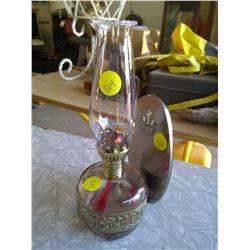 Small Glass/Brass Kerosene Lamp and Holder