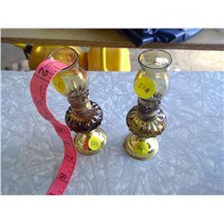 Set of 2 Amber Kerosene Lamps