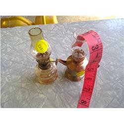 Lot of 2 Small Kerosene Lamps