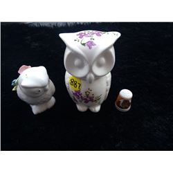 Pin Cushion + Owl Container + Porcelain Thimble