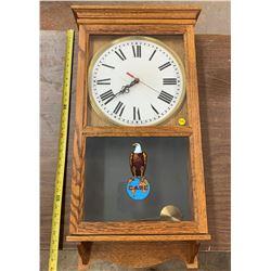 "Wooden Case Pendulum Clock ""Case"" - Battery Operated"