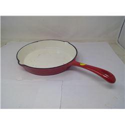 Rare Red Enamel Frying Pan
