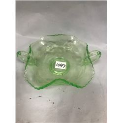 "Green Depression Glass Candy Dish c/w Handles - 5"" Across"