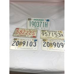 5 Indiana Licence Plates