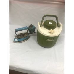 Blue Coleman Gas Iron and Coleman Thermos