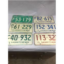6 Saskatchewan License Plates