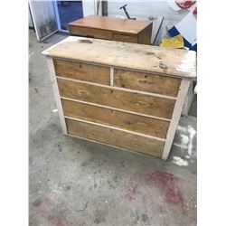 Pine Chest - 5 Drawers, Square Nails, Over 1/2 of it Stripped of Paint - (Height - 36, Width: 45, Le