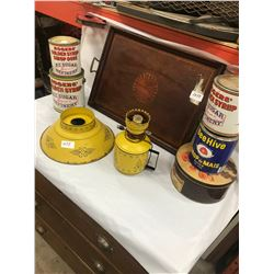 Lot of Kitchen Collectibles - Wood Tray, Art Deco Lamp (No Chimney) - dect, 5 Tins