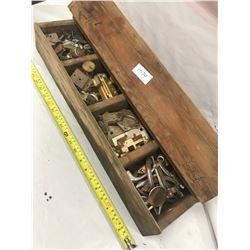 Vintage Shop Wooden Toolbox - full of Hinges, Handles, Locks, etc.