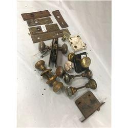 Lot of Vintage Doorknobs, Locks, Back Plates, and 1 Skeleton Key