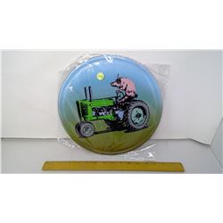 """12"""" Round Tin Reproduction Sign - Pig Riding a Tractor"""