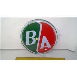 """B/A 12"""" Round Tin Reproduction Sign"""