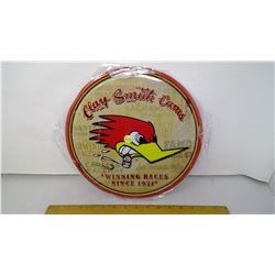 """Clay Smith Cams 12"""" Round Tin Reproduction Sign"""