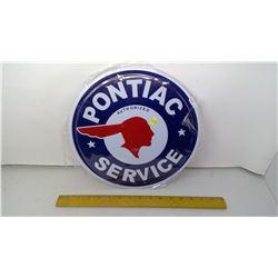 "Pontiac Service 12"" Round Tin Reproduction Sign"