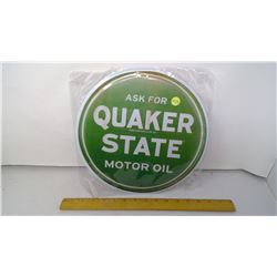 """Quaker State Motor Oil 12"""" Round Tin Reproduction Sign"""