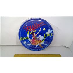 """Miller 12"""" Round Tin Reproduction Sign"""