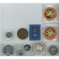 One Thermoset Flock Coin in Blue Case, 1967 Canadian Specimen Five Cent Coin, 2012-2013 Proof Like T