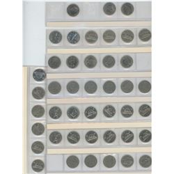 Eight Strips of Five Cent Coins 1922-1967
