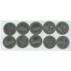 Ten Assorted Nickel Dollars Canadian