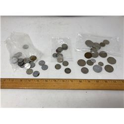 Bag of USA Assorted Buffalo Nickels, Bag of Assorted Canadian Wartime Five Cent Coins, Bag of Assort