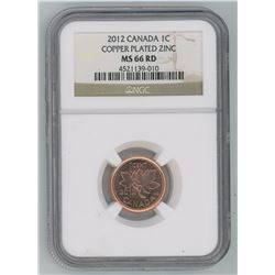 2012 Graded Copper Plated Zinc One Cent Coin - MS-66 Rd - Canadian