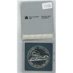 1986 Royal Canadian Mint Uncirculated Silver Dollar in Plastic Case