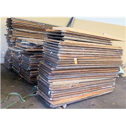 3 Pallets Multiple Rectangle Wood Laminate Folding Tables w/ Metal Legs