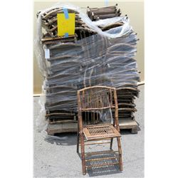 Approx. Qty 52 Wooden & Bamboo Wicker Folding Chairs