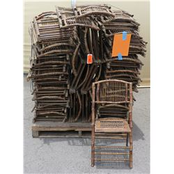 Approx. Qty 50 Wooden & Bamboo Wicker Folding Chairs