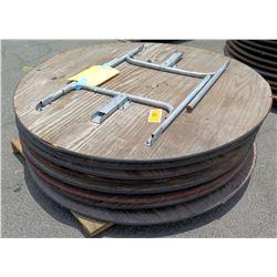 Qty 8 Round Wood Tables w/ Folding Metal Legs
