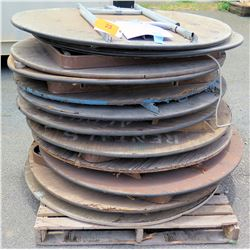 Approx. Qty 12 Round Wood Tables w/ Folding Metal Legs