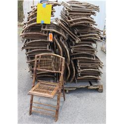 Approx. Qty 46 Wooden & Bamboo Wicker Folding Chairs