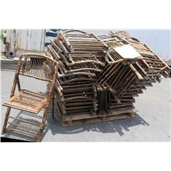 Approx. Qty 42 Wooden & Bamboo Wicker Folding Chairs