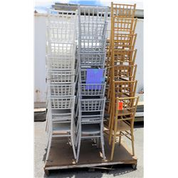 Approx. Qty 41 White, Gray & Tan Wood & Bamboo Design Stacking Chairs
