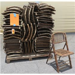Approx. Qty 45 Wooden & Bamboo Wicker Folding Chairs