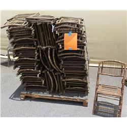 Approx. Qty 60 Wooden & Bamboo Wicker Folding Chairs
