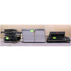 Qty 3 Pallets Stage Sections, Metal Pole Connectors & Rails, & Riser
