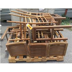 Pallet Multiple Wooden & Bamboo Wicker Folding Chairs & Slatted Stools