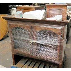 Pallet Portable Bar Cabinet w/ 2 Side Cabinets