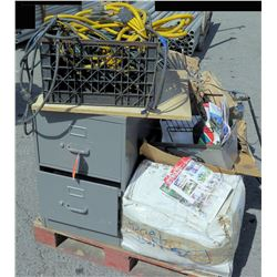 Pallet w/ Metal 2 Drawer File Cabinet, Fire Extinguisher, Misc Cables, etc