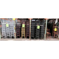 Approx. Qty 490 White, Tan & Black Bamboo Design Stacking Chairs