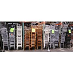 Qty 560 White, Tan, Silver & Black Bamboo Design Stacking Chairs
