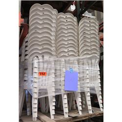 Approx. Qty 66 White Hard Plastic Stacking Chairs
