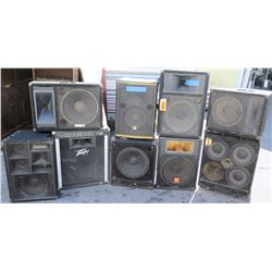Qty 9 Speakers - Peavy, Yamaha, Community, Tapco, David Eden, etc