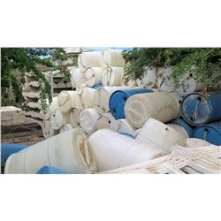 Multiple Heavy Plastic Blue & White 55 Gallon Drums