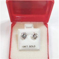 10K Yellow Gold Cz 6.5Mm Earrings, Made in Canada, Suggested Retail Value $240